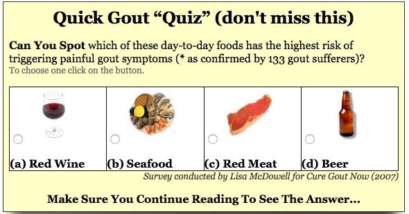 Gout Causes Quiz
